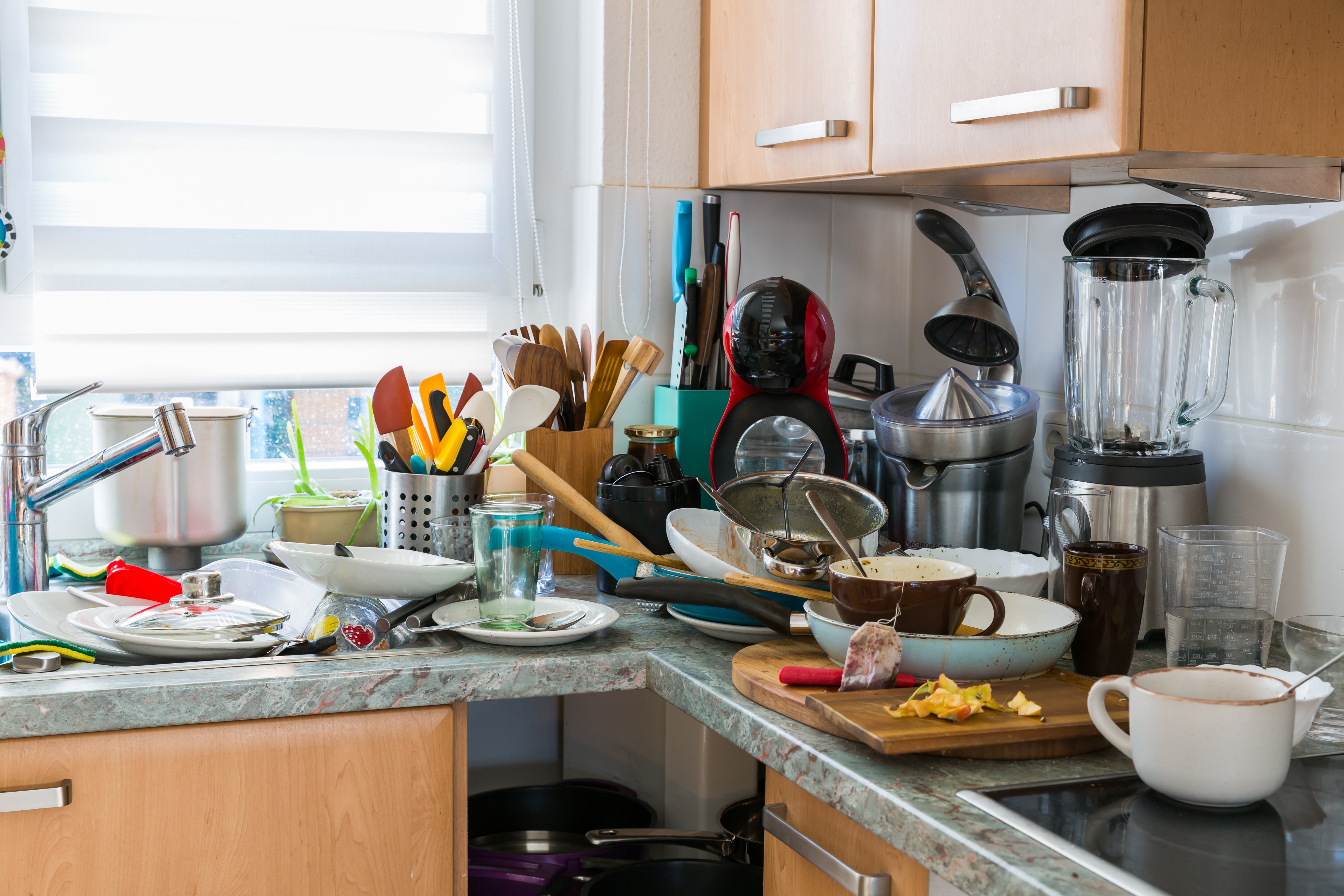 blog image of messy kitchen; Organize Your Apartment Kitchen!