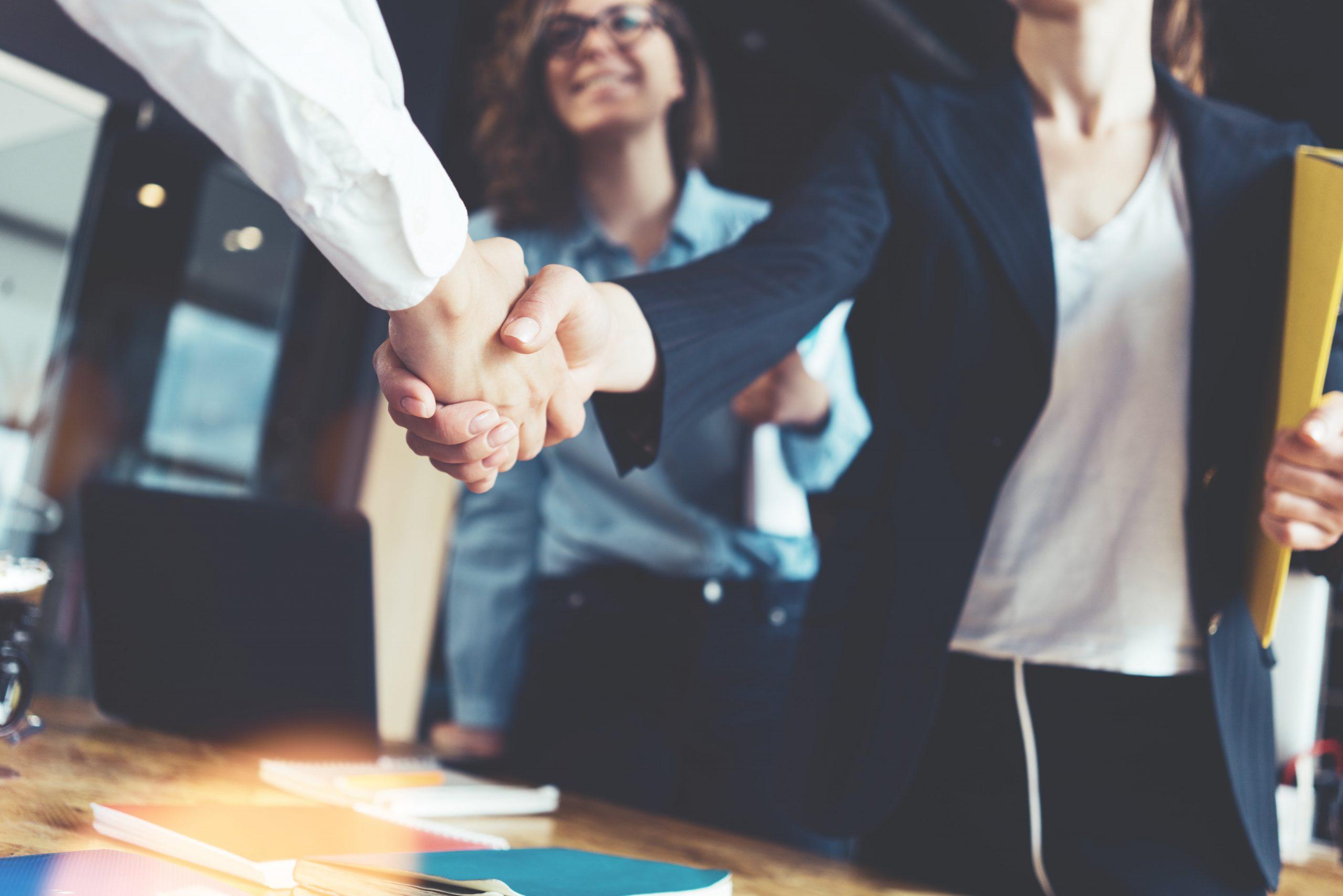 image of businessmen and businesswomen shaking hands